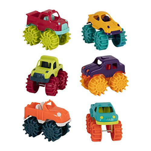 Battat Mini Monster Trucks - Set of 6 Mini Trucks for Toddlers in Storage Bag for 2 years +]()