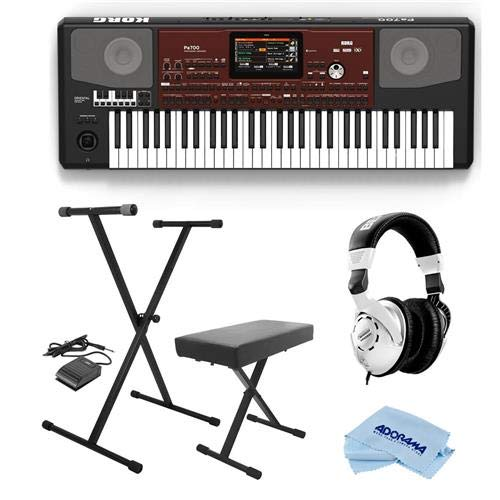 Korg Pa700 Oriental 61 Keys Velocity Sensitive Pro Arranger Keyboard, Physical Quarter Tone SubScale Keypad - Bundle With On-Stage Keyboard Stand with Sustain Pedal, Behringer HP Studio Headphones by Korg