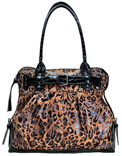 Isabella's Journey Faux Fur Leopard Belted Top Handled Handbags Leopard Print Hobo Handbag