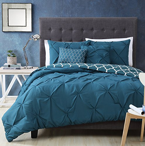 Amazoncom Avondale Manor Madrid Piece Comforter Set Queen - Dark teal bedding