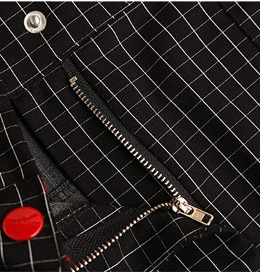 Estate Collare Nero Vestito Dell'anca Bobbycool Plaid Pacchetto Passo Del V Esterno Pannello Modo wRwprgfq