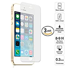 [ 3 Pack ] Tempered Glass Screen Protector For iPhone 5 / 5S / 5C / SE [ Premium Quality] Apple iPhone 5 5S 5C SE Tempered Glass Screen Protector Ultra Thin Clear HD High Definition Easy To Install