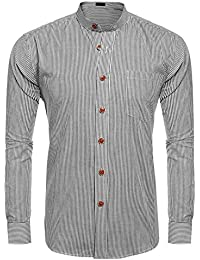 Men's Slim Fit Banded Collar Dress Shirt Casual Long Sleeve Striped Button Down Shirt