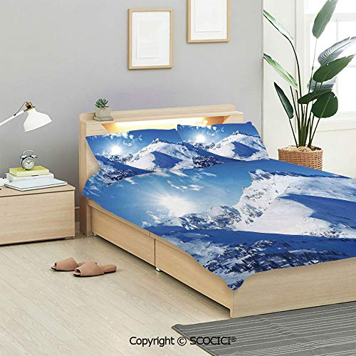 Winter Decorations Bedding Sets 3 Pieces(1 Duvet Cover 2 Pillow Shams) Mountain Peak in Sunny Winter West Northern of States Habitat Hike Image Duvet Cover Sets for Kids/Twin/Single All Seasons