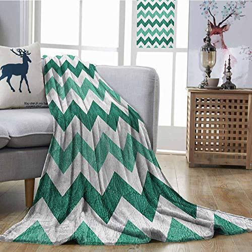 Blanket Sheets Modern Pastel Chevrons Peru Zigzag Lines in Green Toned Geometric Contemporary Dark Green Mint Green Print Summer Quilt Comforter W54 xL84 ()
