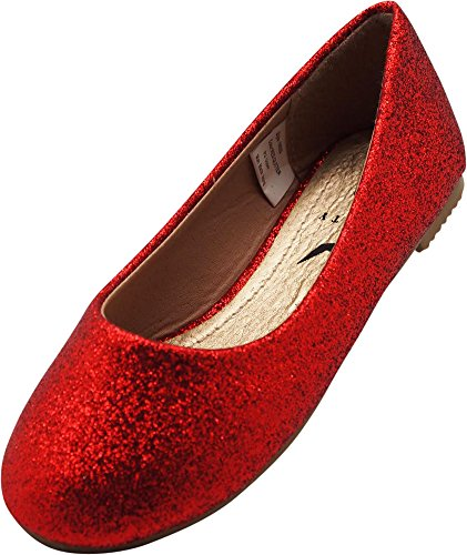 NORTY Little Girls Glitter Ballet Flat, Red 40089-4MUSBigKid