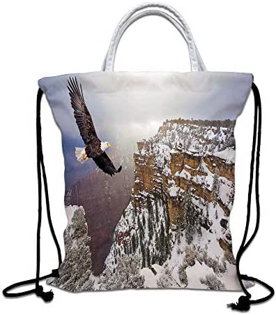 Wildlife Decor Drawstring Bag waterproof, Aerial View of Bald Eagle Flying in Snowy Grand Canyon Rocky Arizona USA Lightweight Gym Sackpack for Hiking Yoga Gym Swimming Travel Beach,White Brown