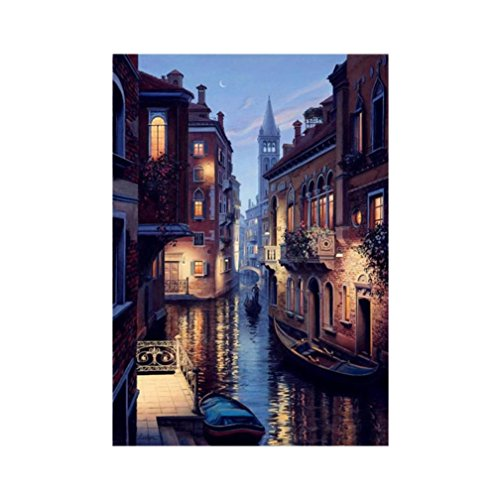 Venice Night Scene 5D Diamond Rhinestone Pasted Embroidery Painting Cross Stitch Kit (B:3040cm) (Venice Embroidery)