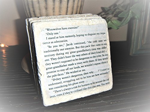 Twilight book coaster set, Vampires, Werewolves, horror movies, books,valentines gifts