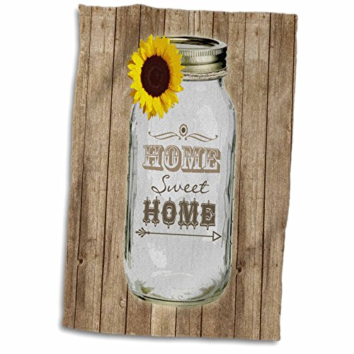 3D Rose Country Rustic Mason Jar with Sunflower Sweet Home Towel, 15