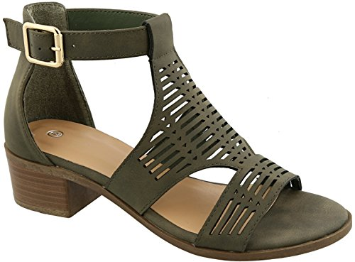 Holiday Womens Sandals (BDshoes Gayle Top Olive Low Platform Caged Heel Strappy Flat Sexy Fashion Casual Formal Holiday Sandal Last Minute Christmas Idea for Women Ladies Teens (Size 8, Olive))
