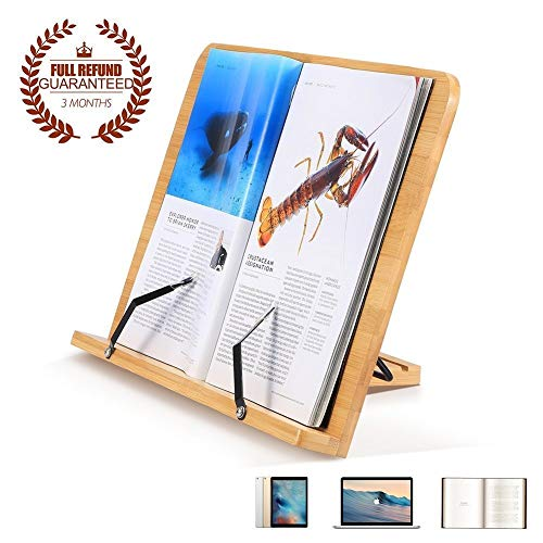 Meetyoo Bamboo Reading Rest Cookbook Holder, Middle Size, Foldable Tablet Cook Book Stand Bookrest with Adjustable Backing & Elegant Pattern