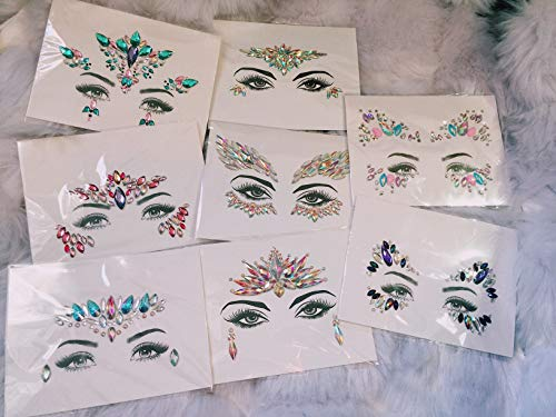 PARTY MERMAID - SET 8 Women Face Gems Glitter, Rhinestone Festival Face Jewels,Crystals Makeup, Rave Stickers, Eyes Face gem stick on (Party Mermaid)