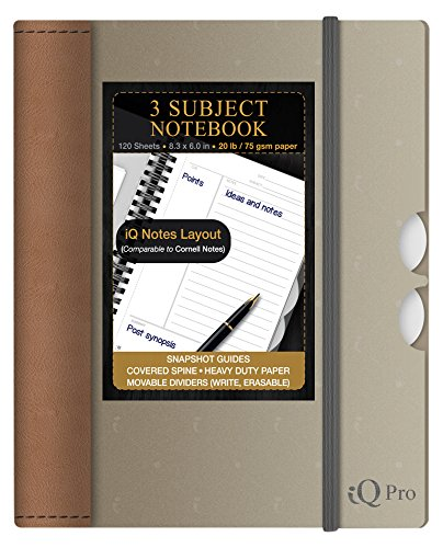 (iQ Pro Handy Premium Poly Cover 3 Subject Notebook, 8.3 x 6 Inches, 120 Sheets, Color Will Vary (55860))
