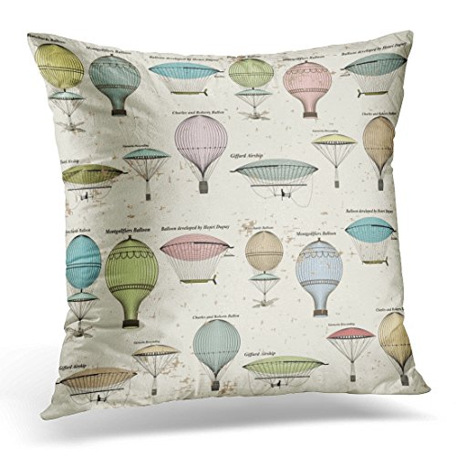 Golee Throw Pillow Cover Black Antique Vintage of Hot Air Balloons and Airships Pattern Fills Page Gorgeous White Victorian Decorative Pillow Case Home Decor Square 18x18 Inches Pillowcase