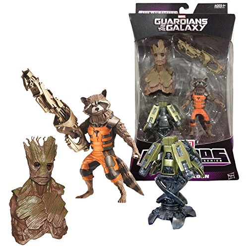 Hasbro Year 2013 Marvel Legends Infinite Series Build a Figure GROOT Series 3 Inch Tall Action Figure - Guardians of the Galaxy ROCKET RACCOON with Rifle and Star Lord Cannon Plus Groots Head and Upper Torso