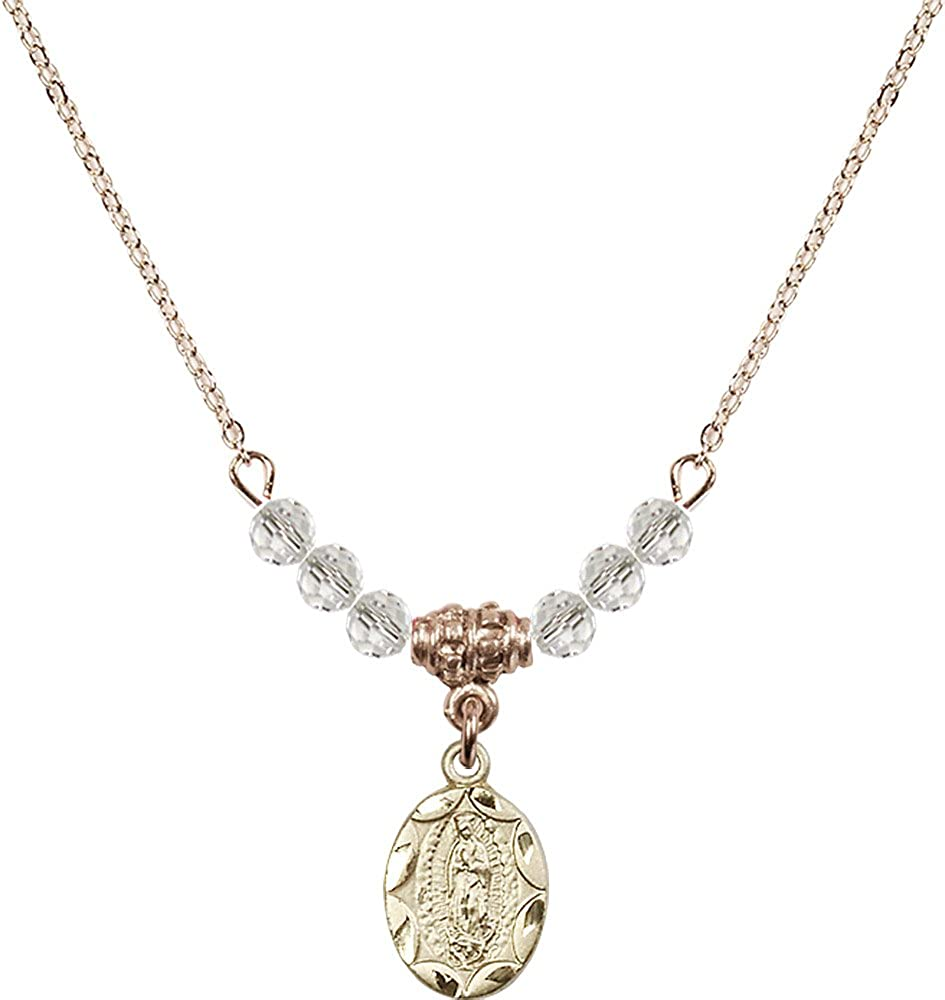 18-Inch Hamilton Gold Plated Necklace with 4mm Crystal Birthstone Beads and Gold Filled Our Lady of Guadalupe Charm.