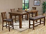 HP Counter Height Table with Butterfly Leaf and 4 Counter Height Chairs and Side Bench in Rusitc Oak Finish #Ac00845/6/7 Review