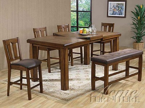 Cheap HP Counter Height Table with Butterfly Leaf and 4 Counter Height Chairs and Side Bench in Rusitc Oak Finish #Ac00845/6/7