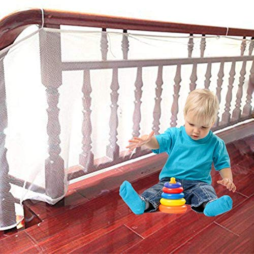 - Child Safety Net, Balcony, Staircase & Railing Stairs Netting, Banister Stair Safety Net Work Great for Baby Kids Pet Indoor & Outdoor, Good Quality Mesh Fabric, Match with Rail (6.6ft L x 2.6ft H)