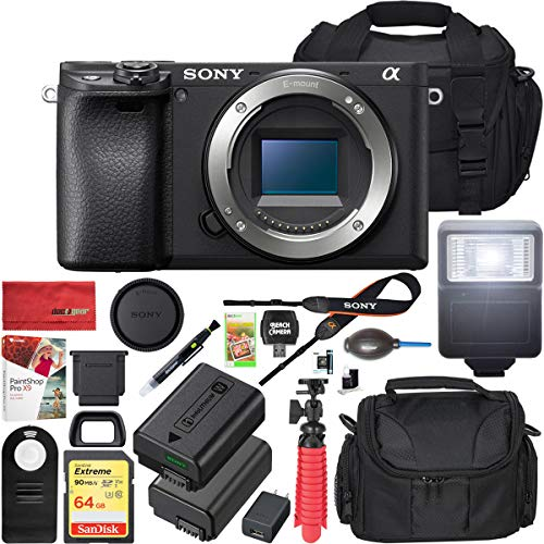Sony a6400 4K Mirrorless Camera ILCE-6400/B Body Only with Travel Case Gadget Bag and Deco Gear Deluxe Cleaning Kit Extra Battery Remote & Flash Bundle