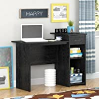 Stylish & Affordable Student Computer Homework Desk, Great for Dorms or Apartments, Features Drawer, Adjustable & Fixed Shelf, Great Assortment of Multiple Finishes & Colors! (Black Ebony Finish)