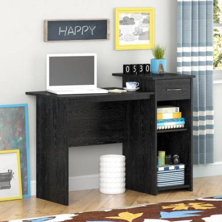 Stylish & Affordable Student Computer Homework Desk, Great for Dorms or Apartments, Features Drawer, Adjustable & Fixed Shelf, Great Assortment of Multiple Finishes & Colors! (Black Ebony Finish) - Black Ebony Finish