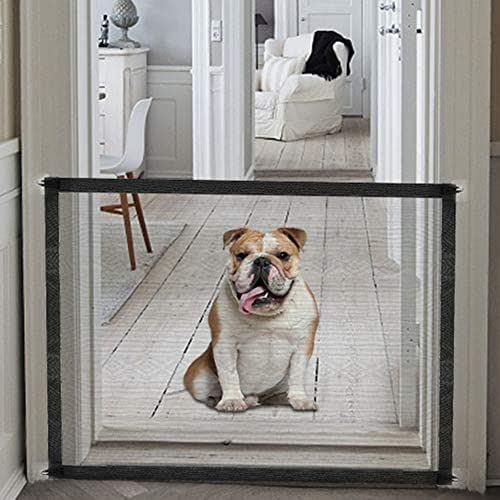 Accmor Magic Gate for Dogs, Baby Gates Pet Safety Gate, Portable Folding Mesh Magic Gate Baby Safety Gates, Install Anywhere, Safety Fence for Hall Doorway Wide Tall (Black)