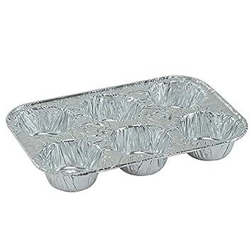 4 Pack Disposable Recyclable Aluminum Foil 6 Muffin Pan Regent D15020-2pk