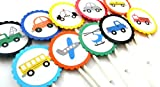 Transportation Cupcake Toppers - Set of 12