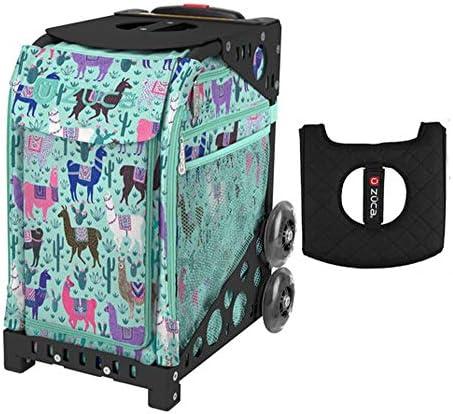 Z?CA INC Zuca スポーツバッグ - Llama Rama ギフト付き ブラック/ピンク シートカバー (ブラック 点滅しないホイールフレーム)