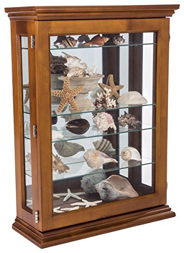 Displays2go, Cheap Curio Cabinets, Tempered Glass, Plywood, Mahogany Wood – Light Oak Finish (CC2027OKB) by Displays2go