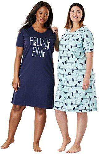 Dreams & Co. Women's Plus Size 2-Pack Sleepshirt - Glacier Aqua Cat, M/L -