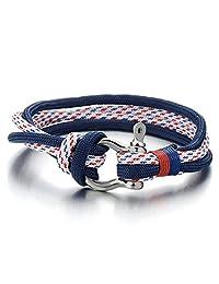 Man Women Steel Screw Anchor Shackles Blue Nautical Sailor Rope Cord Braided Wrap Bracelet Wristband