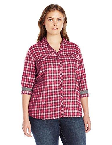 Columbia Women's Plus-Size Simply Put II Flannel Shirt, Chianti Check, 1X