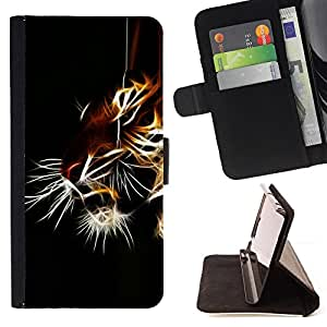 DEVIL CASE - FOR Samsung ALPHA G850 - Tiger Iridescent Black Animal Nature - Style PU Leather Case Wallet Flip Stand Flap Closure Cover