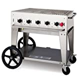 Crown Verity CVMCB-36 36'' Liquid Propane Mobile Grill with 79500 BTU Capacity Two 14'' Wheels and Two Total Lock Casters: Stainless