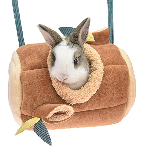 FLAdorepet Stump Hanging Guinea Pig Hamster Squirrel Bed Hammock for Cage Small Animal Rabbit Chinchilla Bed House for Rat Hedgehog Snuggle Sack (9.56.6inch, Brown)