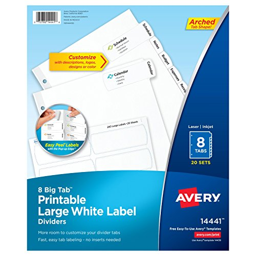 White Easy Peel - Avery Big Tab Printable Large White Label Dividers with Easy Peel, 8 Tabs, 20 Sets (14441)