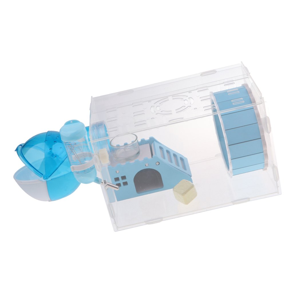 bluee as described bluee as described Baosity Plastic Pet Story Squirrel Hamster Cage Mouse House + Slide Disk Spinning Bottle bluee Pink bluee, as described