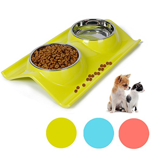 Dog Bowls Raised Cat Puppy Bowls Double Stainless Steel Pet Bowls with Non Spill Resin Station Pet Food Water Feeder (green)