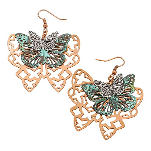 "Large Layered Look 3 Tone Patina Green, Copper-Tone & Embossed Silver-Tone Butterfly Dangle Earrings 2.5"" (Antiqued Filigree Butterfly Ring)"