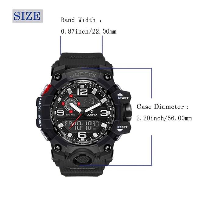 Relojes hombre deportivo JOEFOX, Reloj analógico digital Moda deportiva multifunción a prueba de agua fecha de la alarma de goma negro reloj de: Amazon.es: ...