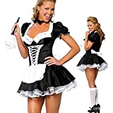sandywident Lace Naughty French Maid Costume Sexy Uniform Fancy Party Dress Outfit M-2X(Multi-Color,XXXL)