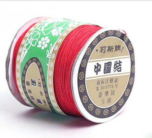 Bigood 135m 0.8mm Chinese Knot Shamballa Nylon Necklace Braided Cord Beading String Red