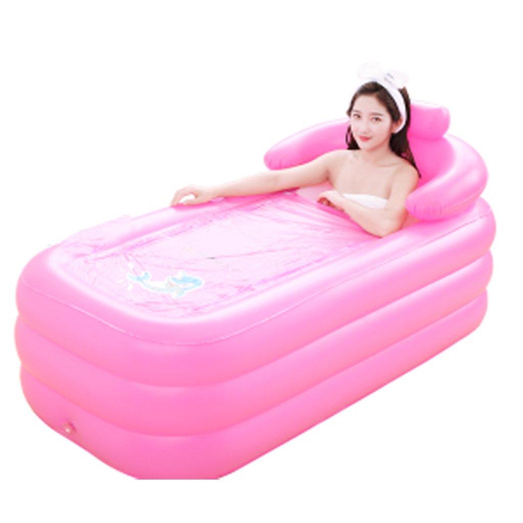 Bathtubs Freestanding Adult Folding Inflatable Tub Bucket Home Tub Filling Children's Plastic (Color : Pink Foot Pump)