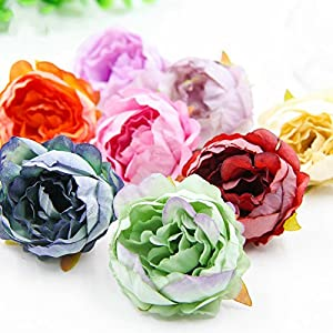 Fake Flower Heads Artificial Peony Flowers Head Multi Colors for DIY Festival Decor Home Wedding Party Decoration Scrapbooking Wreath Fake Flowers 15PCS 63