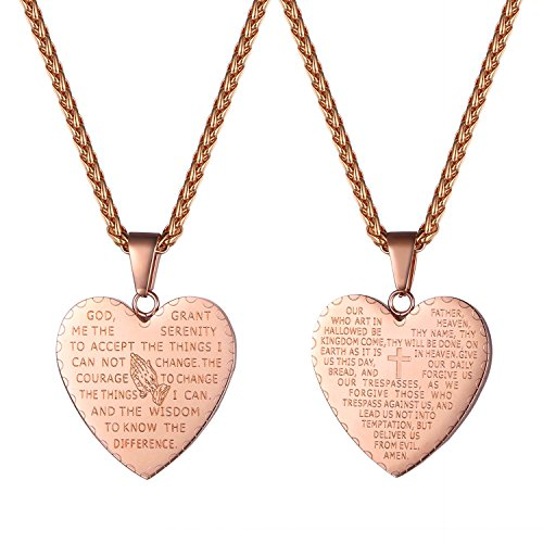 Prayer Hands Box Praying (Praying Hands Necklace Engraved with Christian Bible Lords Prayer Words Rose Gold Plated Heart Pendant Necklace)