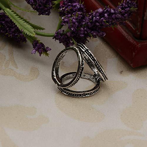(Elegant Women Three Rings Scarf Buckle Clip Holder Silk Scarf Brooch Jewelry (Color - Silver))