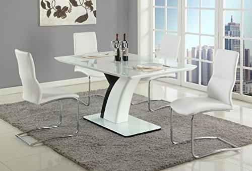5 Milan Piece Set (Milan NARA-PHOEBE-5PC Nara Gloss White/Black 5 Piece Dining Set with White Chairs)